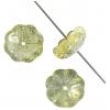 Glass Bead Flower 11mm Strung Center Hole Green/Yellow/Grey